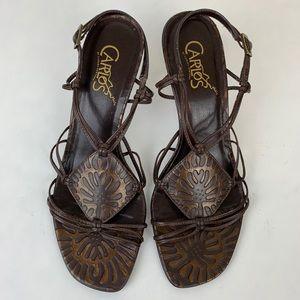 Carlos Mambo 2 Bronze Leather Sandal Heels Sz 7.5